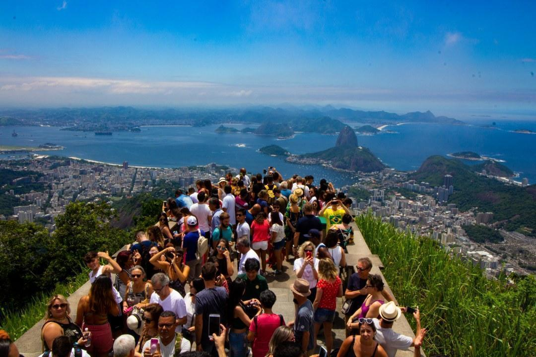 View of Rio and lots of eager tourists.