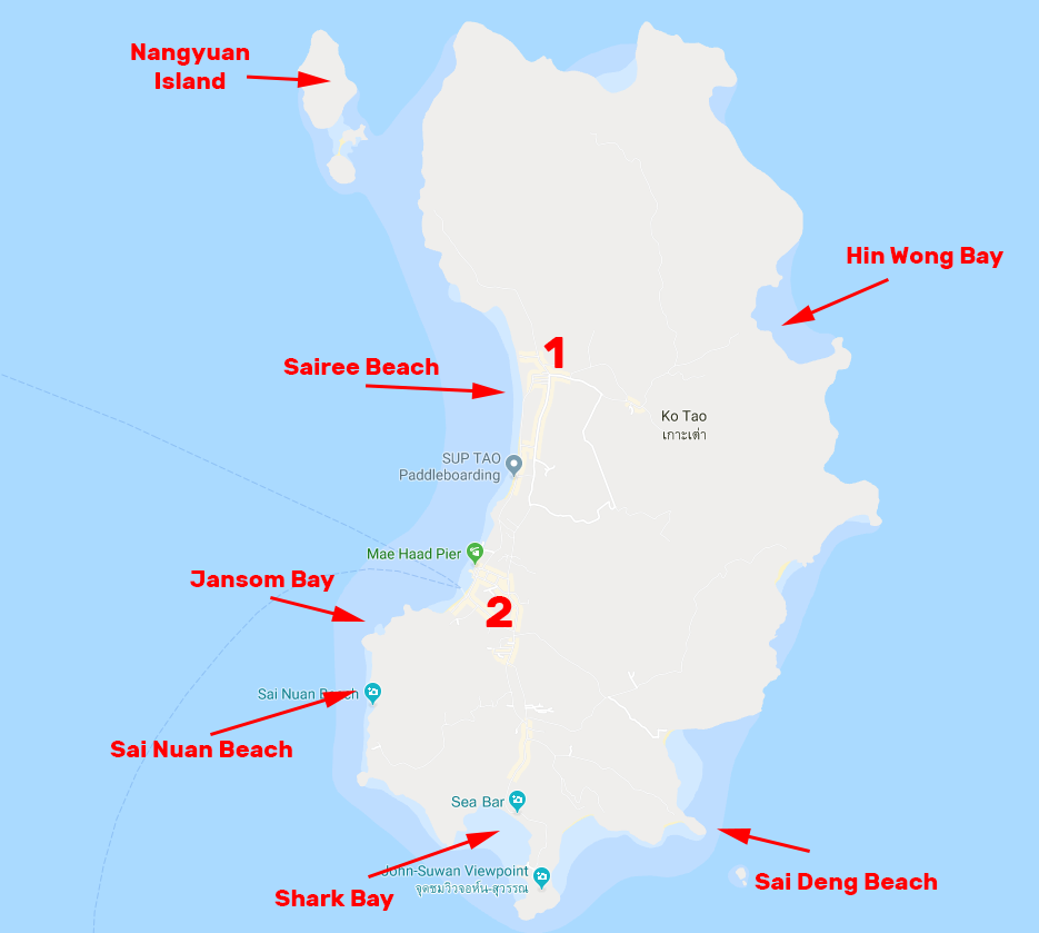 Here's a quick little map of the island. I've marked some of the good snorkeling spots I found (not that they're a secret).